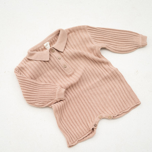 Essential knit romper | Strawberry