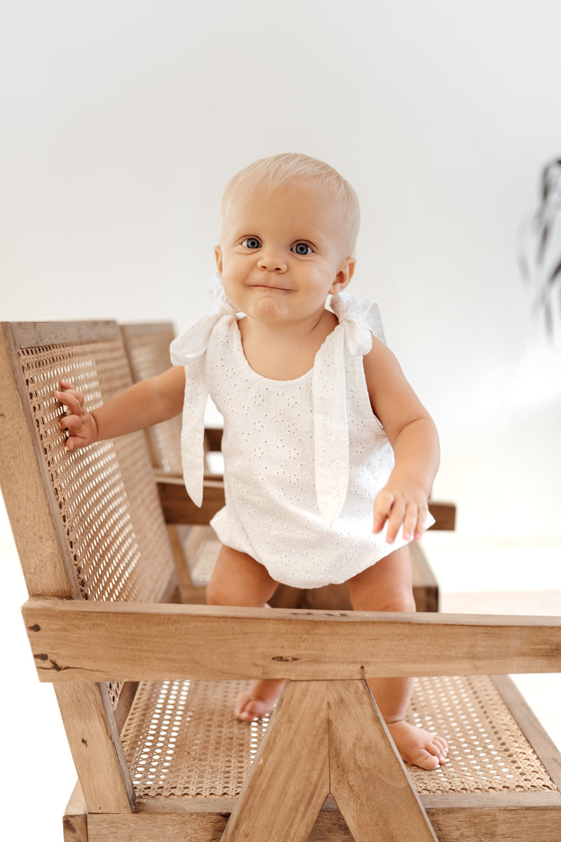 Mars Romper - White Broderie Anglaise