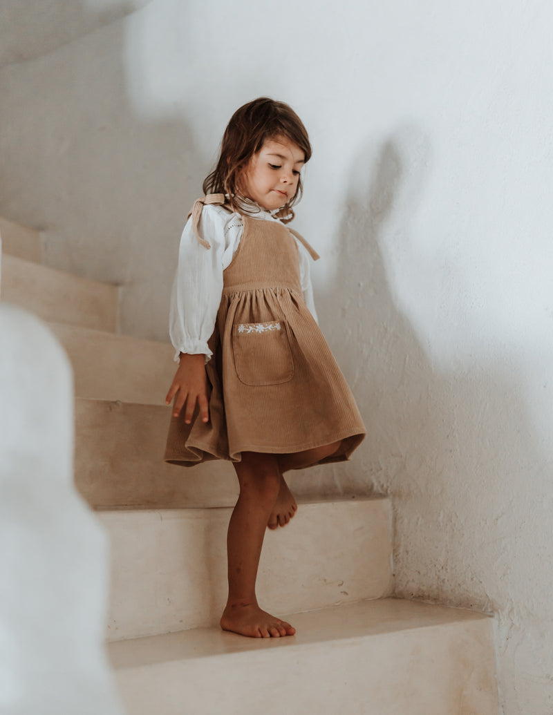 Hand embroidered cord pinafore