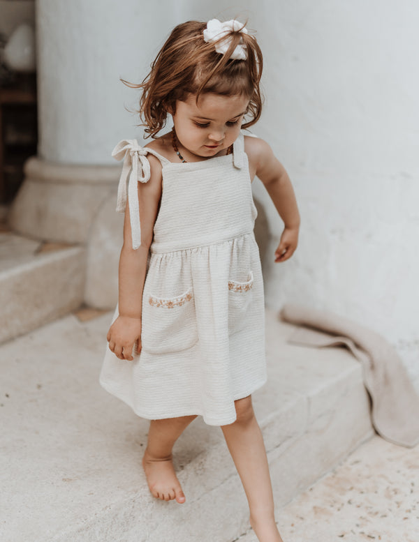 Textured cotton pinafore