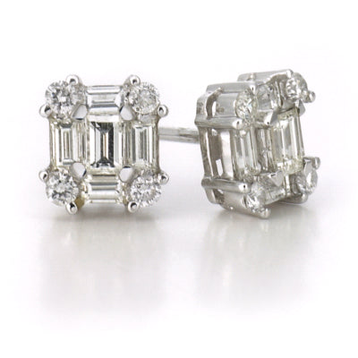 18ct white gold and 0.90ct diamond earrings