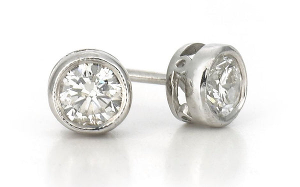Classic Diamond Stud Earrings Rubover 18ct white gold 0.45ct