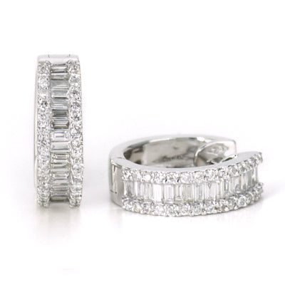 18ct white gold 0.90ct half hoop earrings