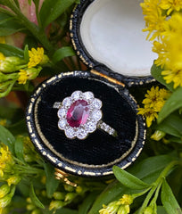 Victorian Ruby Cluster Platinum Ring 0.50ct + 0.80ct