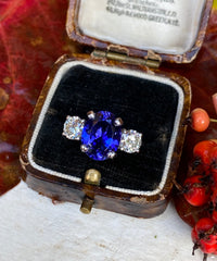 Tanzanite and Diamond Three Stone 1.04ct + 3.40ct