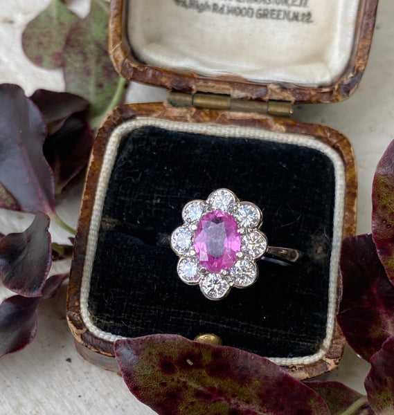 Pink Sapphire and Diamond Cluster Platinum Ring 0.90ct + 1.25ct