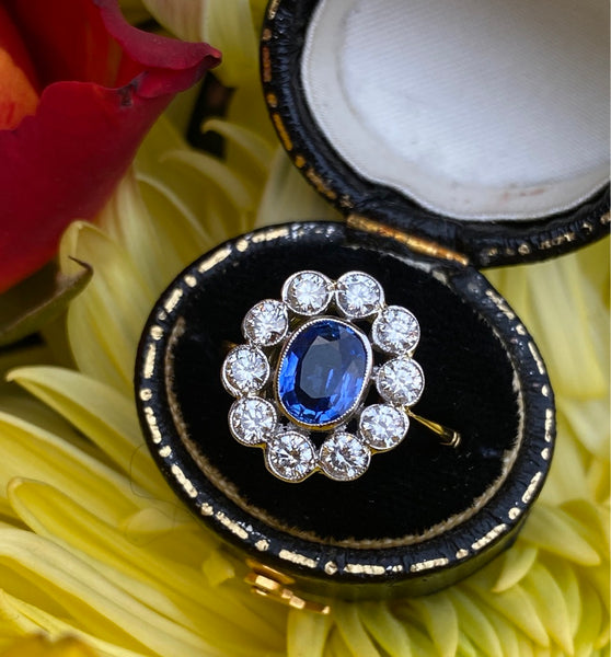 Sapphire and Diamond Cluster Ring 18ct Yellow Gold 0.90ct + 1.0ct