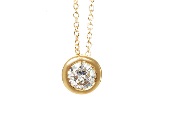 18ct Yellow Gold Diamond Solitaire Rub Over Set Pendant 0.50ct