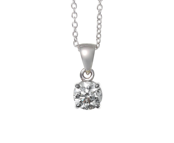18ct White Gold Solitaire Pendant 0.50ct