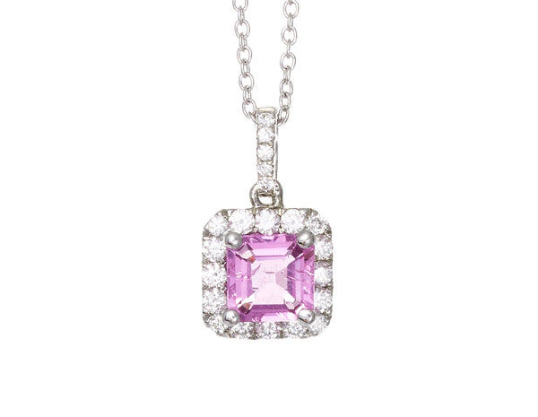 Pink Sapphire and Diamond Pendant 0.30ct + 0.90ct 18ct White Gold