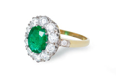 Victorian Style 1.80ct Emerald and 1.25ct Diamond Cluster Ring 18ct Yellow Gold