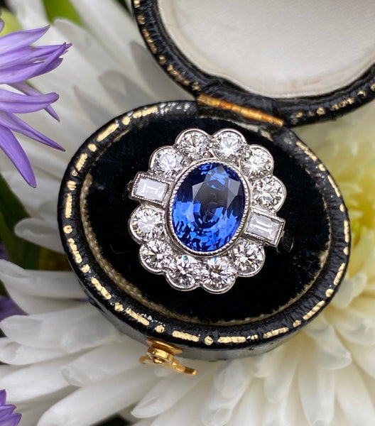 Sapphire and Diamond Cluster Platinum Ring 1.35ct + 3.05ct