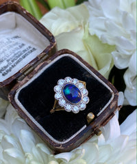 Victorian Black Opal and Diamond Cluster 18ct Yellow Gold Ring 0.80ct + 1.10ct