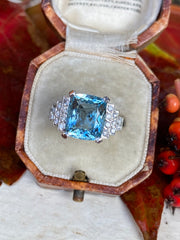 Art Deco Aquamarine and Diamond Platinum Ring 0.30ct + 4.50ct