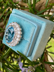 Aquamarine and Old Cut Diamond Oval Cluster Ring 7.0ct + 1.50ct Platinum
