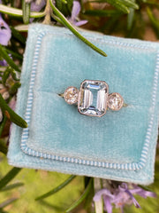 Aquamarine and Diamond Three Stone Ring 0.40ct Diamond + 1.20ct Aquamarine 18ct Yellow Gold