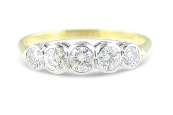 Five Stone Diamond Ring 0.80ct 18ct Yellow Gold