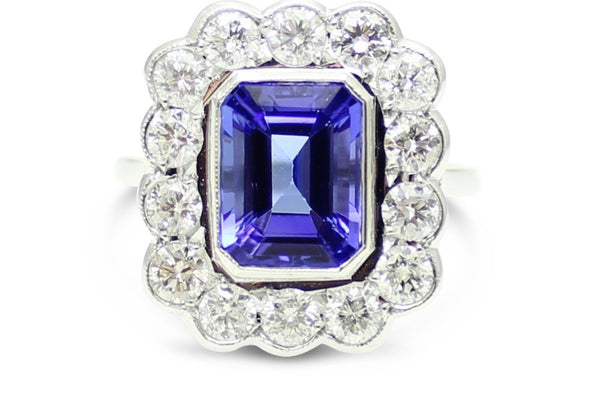 Wow!! Tanzanite and Diamond Cluster Ring 0.95 ct + 2.50ct 18ct White Gold