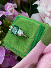 Emerald and Diamond Three Stone Platinum Ring 1.03ct + 1.90ct