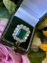 Victorian Style 3.05ct Emerald and 1.55ct Diamond Cluster Ring 18ct Yellow Gold