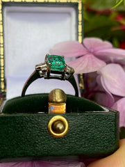 Art Deco Emerald and Diamond Platinum Ring 0.20ct + 1.70ct Emerald