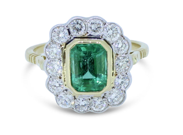 Emerald and Diamond Cluster Ring 0.80ct + 1.34ct 18ct Yellow Gold