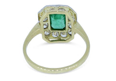 Art Deco Emerald and Diamond Cluster Ring 0.80ct + 1.10ct 18ct Yellow Gold
