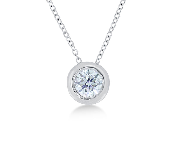 18ct White Gold Solitaire Rub Over Set Diamond Pendant 0.50ct