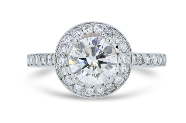 Brilliant Cut Diamond Halo Ring 1.36ct Platinum