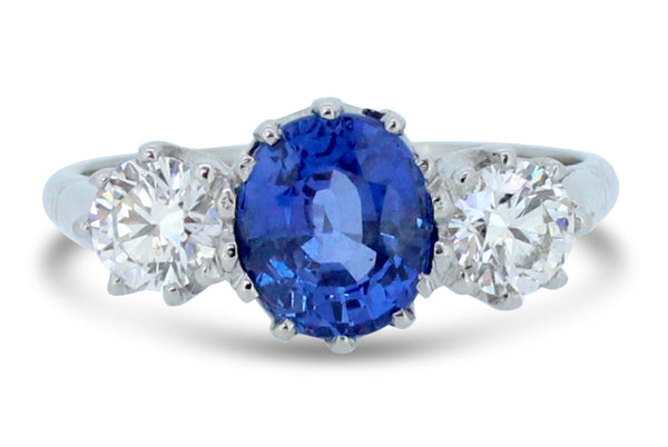 Three Stone Sapphire and Diamond Ring 1.04ct + 2.30ct Platinum