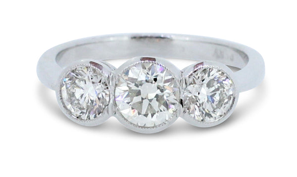 Three Stone Brilliant Cut Diamond Ring 1.50ct Platinum