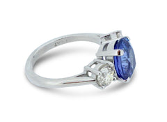 Three Stone Sapphire and Diamond Ring 1.08ct + 4.26ct Platinum