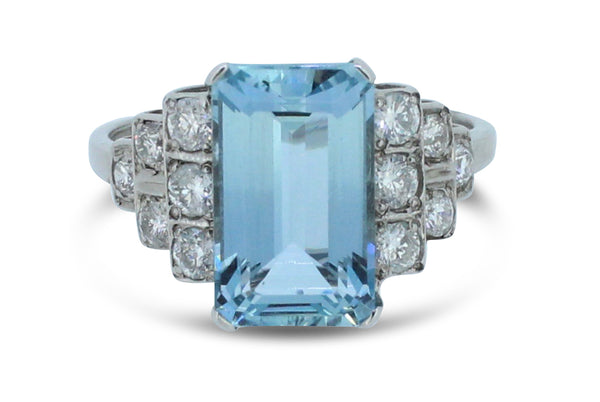 Art Deco 2.70ct Aquamarine and 0.65ct Diamond Ring Platinum