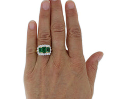 Emerald and Diamond Cluster Three Stone Ring 0.80ct + 2.30ct 18ct Yellow Gold