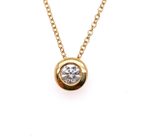 18ct Yellow Gold Diamond Solitaire Rubover Set Pendant 0.20ct