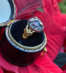 Ruby and Diamond Owl Ring