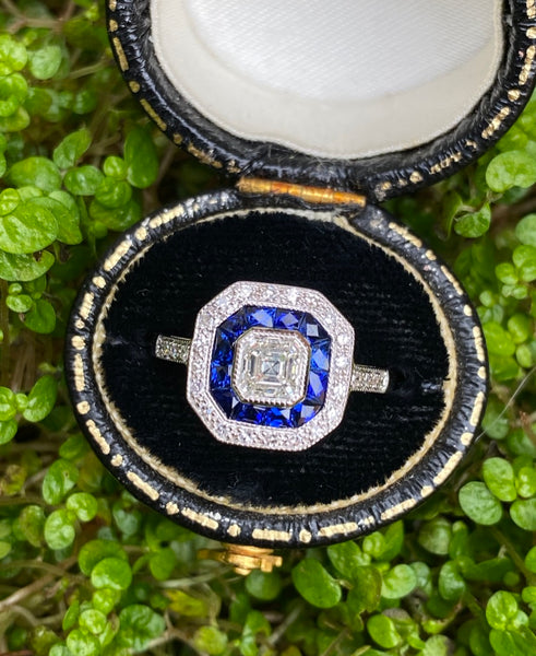 Art Deco Sapphire and Diamond 18ct White Gold Ring 0.80ct