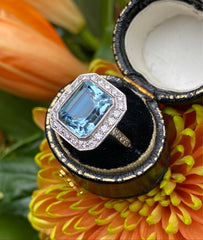 Art Deco Aquamarine & Diamond Platinum Ring 0.50ct + 5.15ct