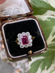 Victorian Style Ruby & Diamond 18ct Yellow Gold Ring 1ct Diamond + 1ct Ruby