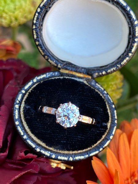Art Deco Old Cut Diamond Solitaire Engagement Platinum Ring 1.10ct