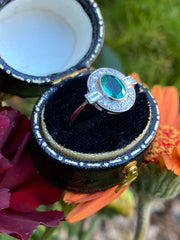 Art Deco Emerald and Diamond Cluster Platinum Ring 0.35ct + 0.70ct Emerald