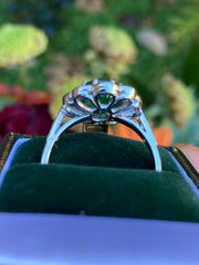Emerald and Diamond Oval Cluster Platinum Ring 1.35ct + 2.40ct Emerald
