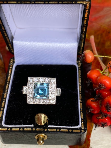 Art Deco Aquamarine & Diamond Platinum Ring 0.45ct + 1.40ct
