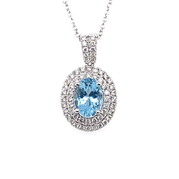18ct White Gold Aquamarine and Diamond Cluster Pendant 0.50ct + 1.20ct Aquamarine