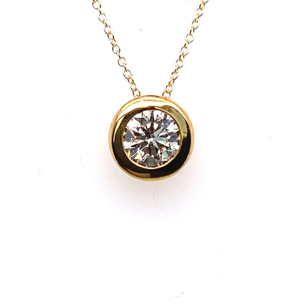 18ct Yellow Gold Diamond Solitaire Rubover Set Pendant 1.25ct