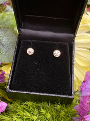 0.65ct Classic Diamond Rubover Stud Earrings 18ct Yellow Gold