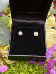 1.01ct Diamond Stud Earrings 4 Claw 18ct White Gold