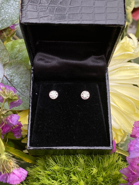 0.65ct Classic Diamond Rubover Stud Earrings 18ct White Gold