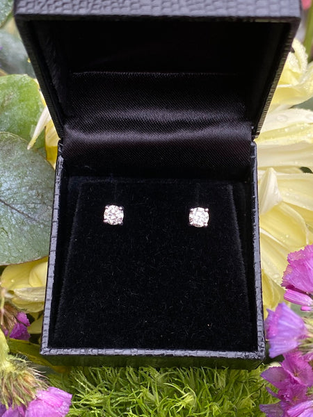 0.60ct Diamond Stud Earrings 4 Claw 18ct White Gold