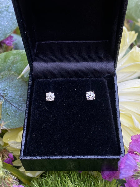 0.52ct Diamond Stud Earrings 4 Claw 18ct White Gold